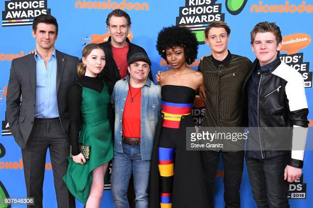 Cooper Barnes Ella Anderson Jeffrey Nicholas Brown Michael Cohen Riele Downs Jace Norman and Sean Ryan Fox attend Nickelodeon's 2018 Kids' Choice...