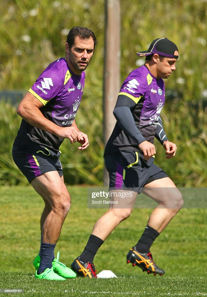 Cooper Cronk and Cameron Smith of the Storm run during a Melbourne Storm NRL training session at AAMI Park on September 23, 2015 in Melbourne, Australia.