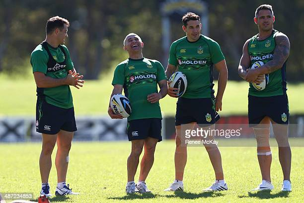 Cooper Cronk laughs with physio Toni Ayoub Billy Slater and Corey Parker during an Australian Kangaroos training session at Concord Oval on April 29...