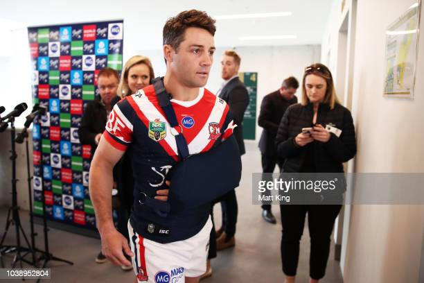 Luke Keary poses during a Sydney Roosters NRL media opportunity at the Sydney Cricket Ground on September 24 2018 in Sydney Australia