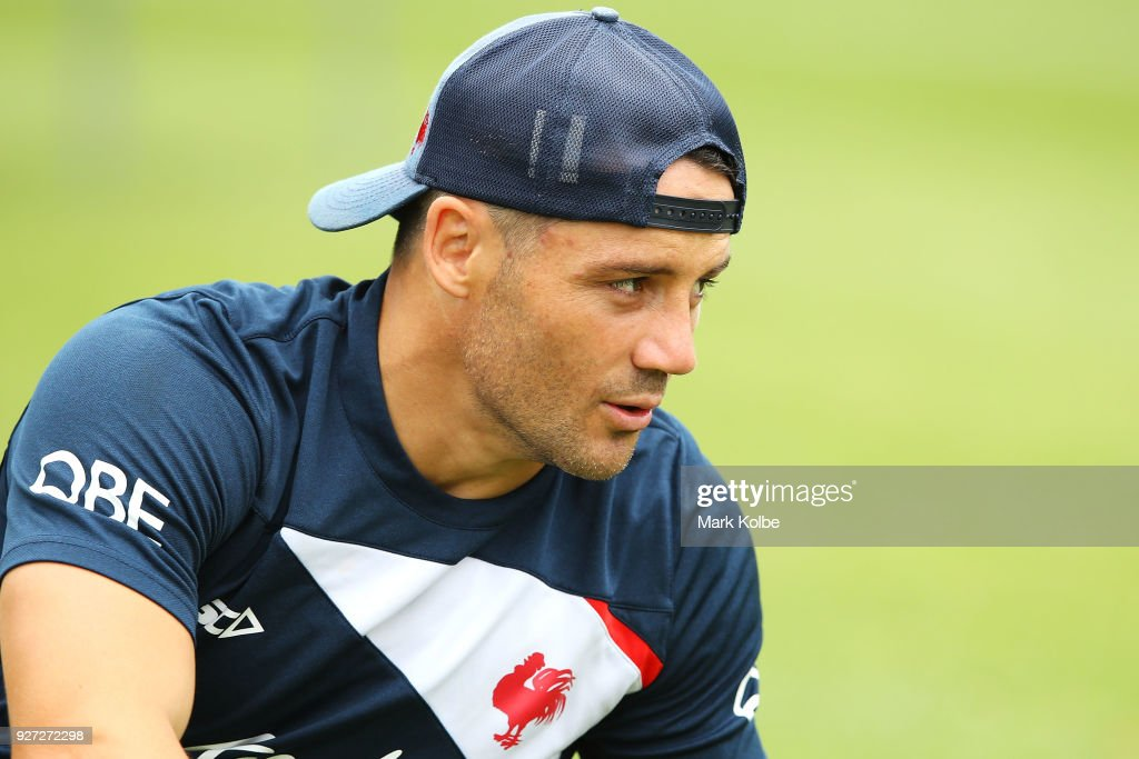 Cooper Cronk looks on during a Sydney Roosters NRL training session at Kippax Lake on March 5, 2018 in Sydney, Australia.