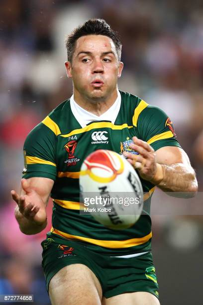 Cooper Cronk of Australia passes during the 2017 Rugby League World Cup match between Australia and Lebanon at Allianz Stadium on November 11 2017 in...