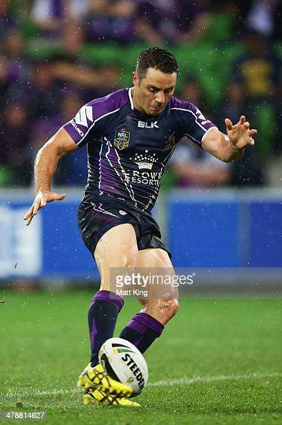 Cooper Cronk of Storm kicks the winning field goal during the round two NRL match between the Melbourne Storm and the Penrith Panthers at AAMI Park...