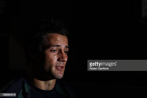 Cooper Cronk of the Kangaroos talks to the media during a media session at the Crowne Plaza Hotel on October 30, 2010 in Melbourne, Australia.