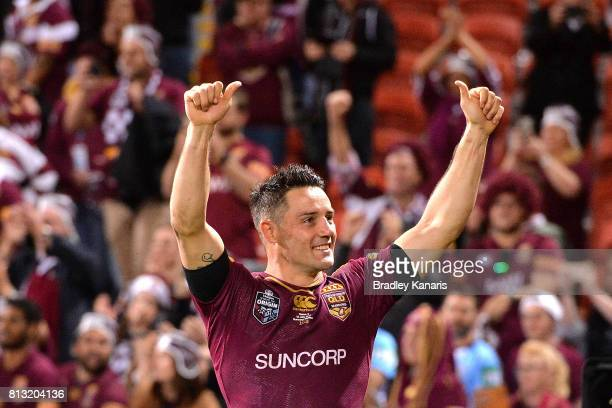 Cooper Cronk of the Maroons celebrates victory after game three of the State Of Origin series between the Queensland Maroons and the New South Wales...