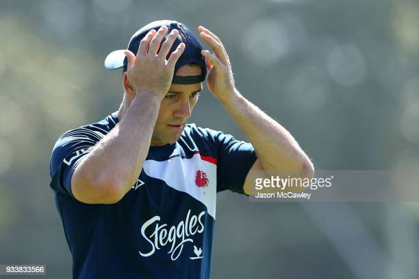 Cooper Cronk of the Roosters during a Sydney Roosters NRL training session at Kippax Lake on March 19 2018 in Sydney Australia