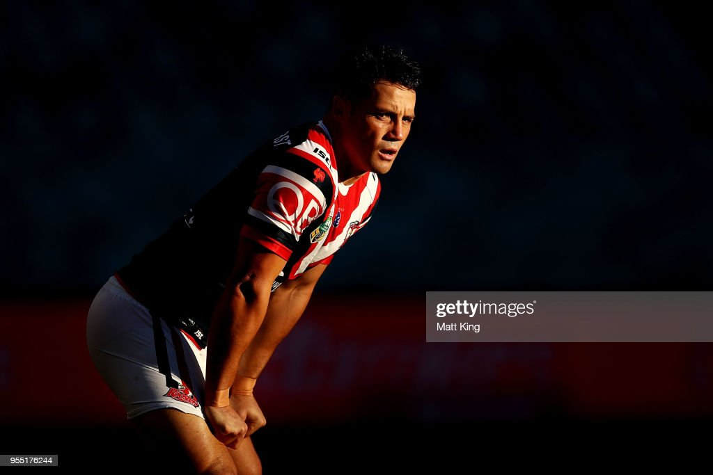 Cooper Cronk of the Roosters looks on during the round nine NRL match between the Sydney Roosters and the Manly Warringah Sea Eagles at Allianz Stadium on May 6, 2018 in Sydney, Australia.