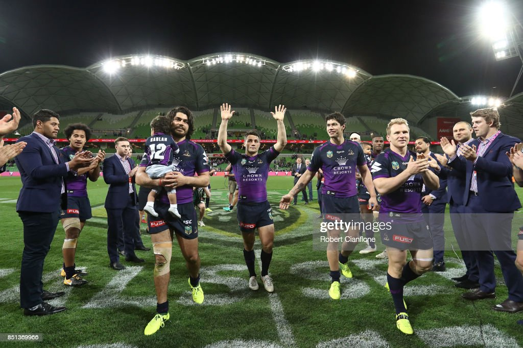 Cooper Cronk of the Storm acknowledges the crowd after playing his final match at home for the Storm during the NRL Preliminary Final match between the Melbourne Storm and the Brisbane Broncos at AAMI Park on September 22, 2017 in Melbourne, Australia.