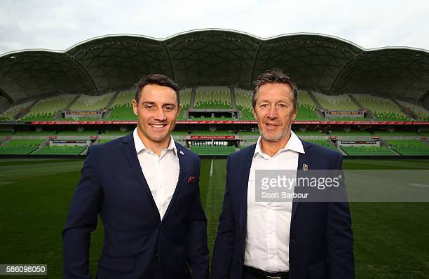 Cooper Cronk of the Storm and Storm head coach Craig Bellamy pose during a Melbourne Storm NRL media opportunity at AAMI Park on August 5, 2016 in...