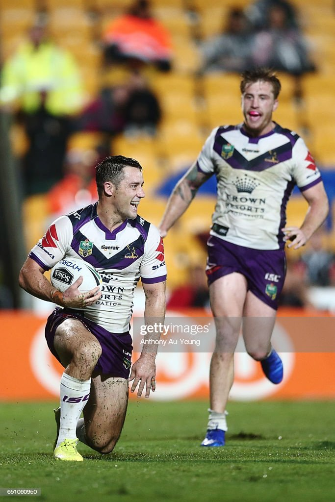 Cooper Cronk of the Storm celebrates after scoring a try during the round two NRL match between the New Zealand Warriors and the Melbourne Storm at Mt Smart Stadium on March 10, 2017 in Auckland, New Zealand.