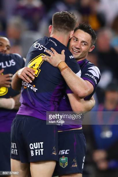 Cooper Cronk of the Storm celebrtes winning the 2017 NRL Grand Final match between the Melbourne Storm and the North Queensland Cowboys at ANZ...