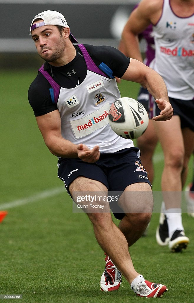 Cooper Cronk of the Storm passes the ball during a Melbourne Storm NRL training session held at MC Labour Park on May 6, 2008 in Melbourne, Australia.