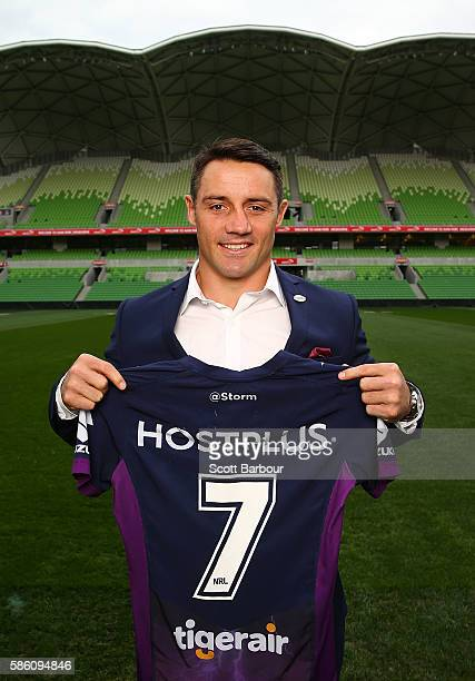 Cooper Cronk of the Storm poses during a Melbourne Storm NRL media opportunity at AAMI Park on August 5 2016 in Melbourne Australia Cronk resigned...