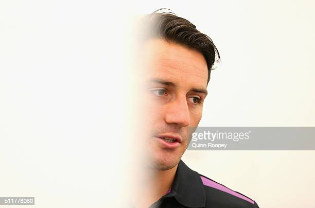 Cooper Cronk of the Storm speaks to the media during a Melbourne Storm NRL media session at AAMI Park on February 23, 2016 in Melbourne, Australia.