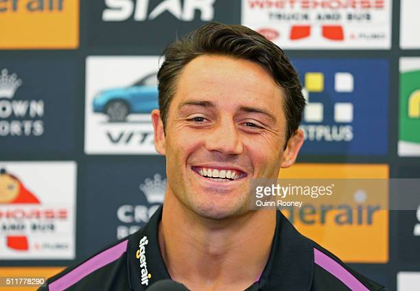 Cooper Cronk of the Storm speaks to the media during a Melbourne Storm NRL media session at AAMI Park on February 23 2016 in Melbourne Australia
