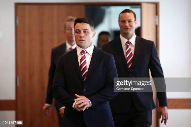 Cooper Cronk of the Sydney Roosters arrives at the 2018 NRL Grand Final press conference at the Sydney Cricket Ground on September 27 2018 in Sydney...
