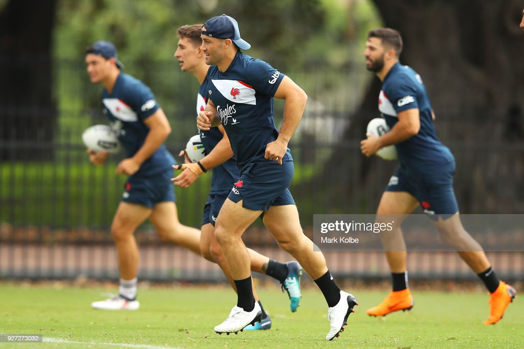 Cooper Cronk runs during a Sydney Roosters NRL training session at Kippax Lake on March 5, 2018 in Sydney, Australia.