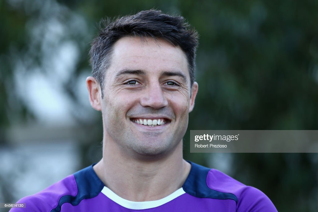 Cooper Cronk speaks prior to a Melbourne Storm NRL training session at AAMI Park on February 27, 2017 in Melbourne, Australia.