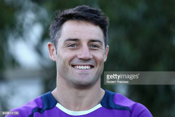 Cooper Cronk speaks prior to a Melbourne Storm NRL training session at AAMI Park on February 27 2017 in Melbourne Australia