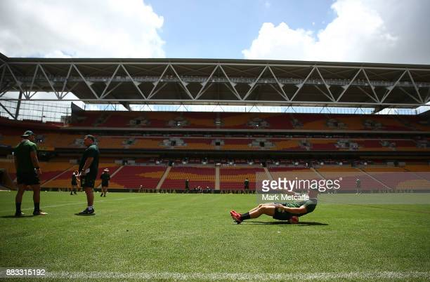 Cooper Cronk stretches during an Australian Kangaroos training session at Suncorp Stadium on December 1 2017 in Brisbane Australia