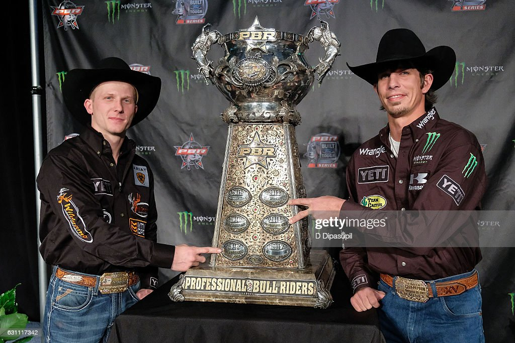 Cooper Davis (L) and J.B. Mauney attend the 2017 Professional Bull Riders Monster Energy Buck Off at the Garden at Madison Square Garden on January 6, 2017 in New York City.