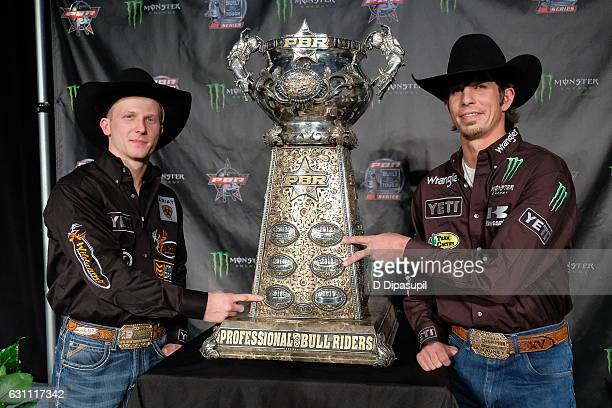 Cooper Davis and JB Mauney attend the 2017 Professional Bull Riders Monster Energy Buck Off at the Garden at Madison Square Garden on January 6 2017...
