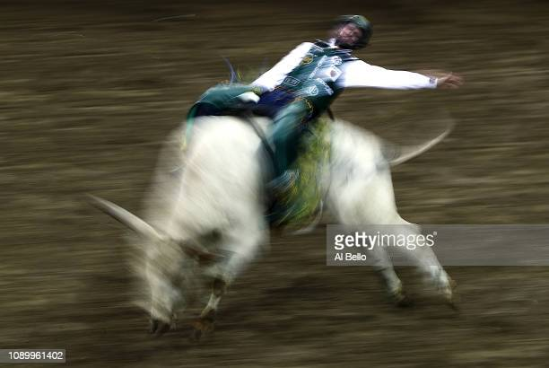 Cooper Davis rides Breaking Bad during the PBR Unleash the Beast bull riding event at Madison Square Garden on January 04 2019 in New York City