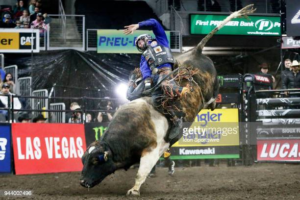 Cooper Davis rides bull Bad Beagle during Championship round of the 25th Professional Bull Riders Unleash The Beast on April 8 at Denny Sanford...