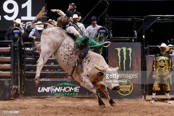 Cooper Davis rides bull Marquis Metal Works Bill the Butcher during the Monster Energy Team Challenge on June 21 at the South Point Arena Las Vegas NV