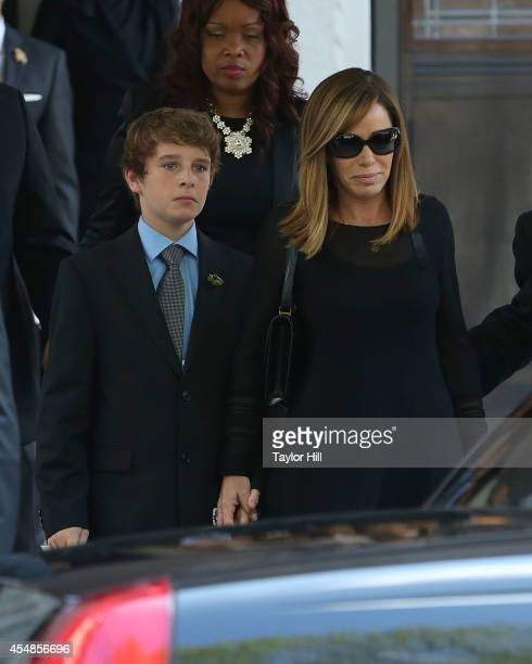 Cooper Endicott and Melissa Rivers depart the Joan Rivers memorial service at Temple EmanuEl on September 7 2014 in New York City