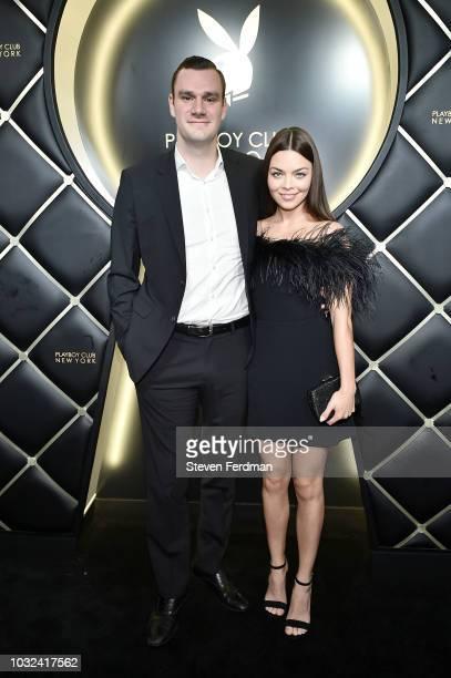 Cooper Hefner and fiance Scarlett Byrne arrive at Playboy Club New York Grand Opening on September 12 2018 in New York City