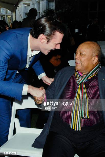 Cooper Hefner and music producer Quincy Jones attend the 35th Anniversary Playboy Jazz Festival press conference at The Playboy Mansion on February...