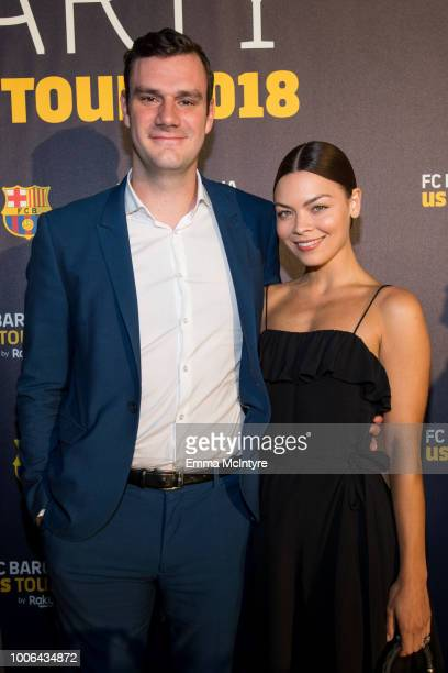 Cooper Hefner and Scarlett Byrne attend the 'FC Barcelona Welcome Party' at Waldorf Astoria Beverly Hills on July 27 2018 in Beverly Hills California