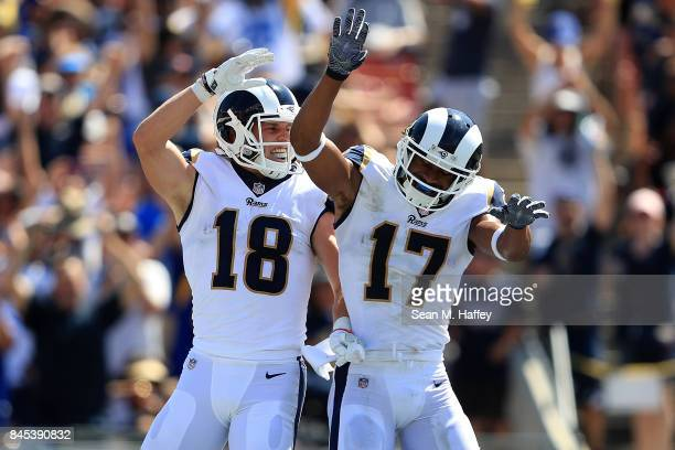 Cooper Kupp and Robert Woods of the Los Angeles Rams celebrate during the second quarter in the game against the Indianapolis Colts at Los Angeles...
