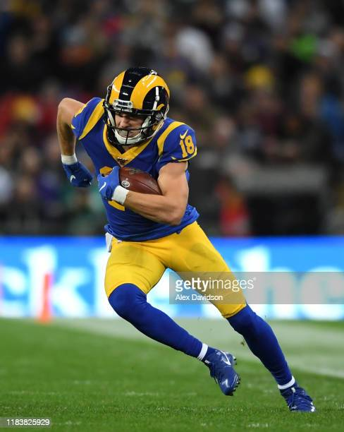 Cooper Kupp of Los Angeles Rams runs with the ball during the NFL game between Cincinnati Bengals and Los Angeles Rams at Wembley Stadium on October...