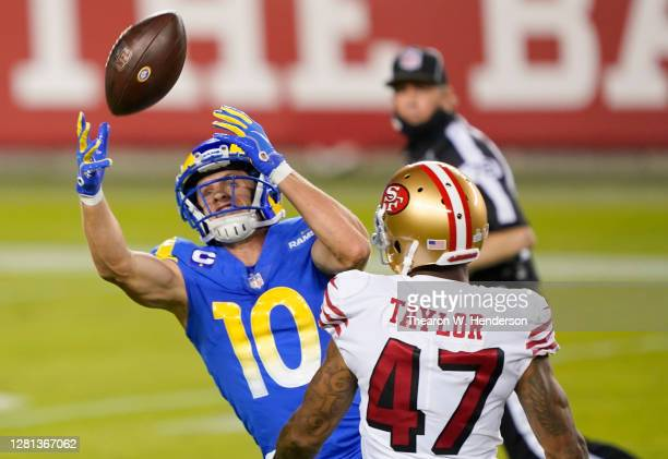 Cooper Kupp of the Los Angeles Rams can't come up with the catch over Jamar Tayler the San Francisco 49ers during the third quarter of their NFL...