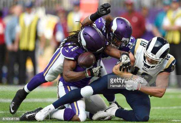 Cooper Kupp of the Los Angeles Rams fumbles the ball on the goal line in the second quarter of the game against the Minnesota Vikings on November 19...
