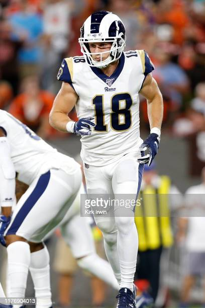 Cooper Kupp of the Los Angeles Rams lines up for a play during the game against the Cleveland Browns at FirstEnergy Stadium on September 22 2019 in...