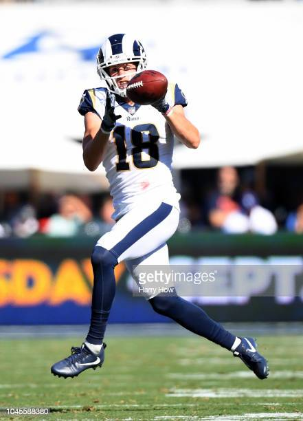 Cooper Kupp of the Los Angeles Rams makes a catch during the game against the Los Angeles Chargers at Los Angeles Memorial Coliseum on September 23...