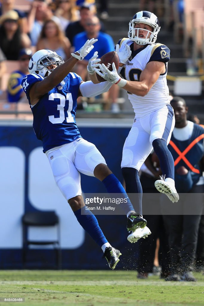 Cooper Kupp #18 of the Los Angeles Rams makes a reception as Quincy Wilson #31 of the Indianapolis Colts defends during the second half of a game at Los Angeles Memorial Coliseum on September 10, 2017 in Los Angeles, California.