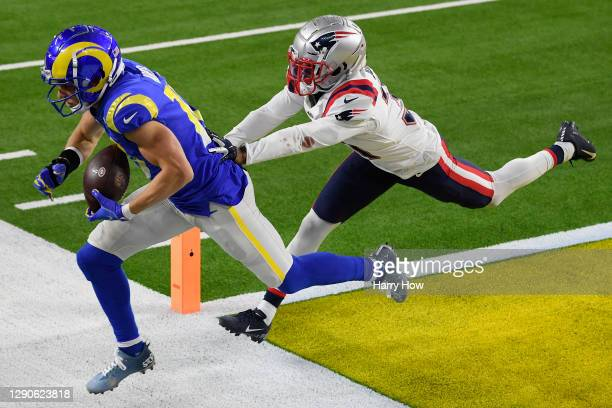 Cooper Kupp of the Los Angeles Rams makes a touchdown reception during the third quarter in the game against the New England Patriots at SoFi Stadium...