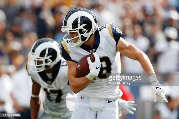 Cooper Kupp of the Los Angeles Rams runs on a 67yard reception during the fourth quarter against the New Orleans Saints in the game at Los Angeles...