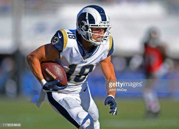 Cooper Kupp of the Los Angeles Rams runs the ball against Tampa Bay Buccaneers at Los Angeles Memorial Coliseum on September 29 2019 in Los Angeles...