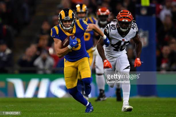 Cooper Kupp of the Los Angeles Rams runs with the ball during the NFL London Games series match between the Cincinnati Bengals and theLos Angeles...