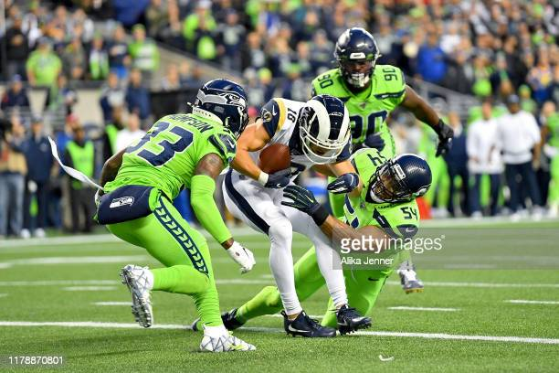 Cooper Kupp of the Los Angeles Rams scores a touchdown late in the second quarter during the game against the Seattle Seahawks at CenturyLink Field...