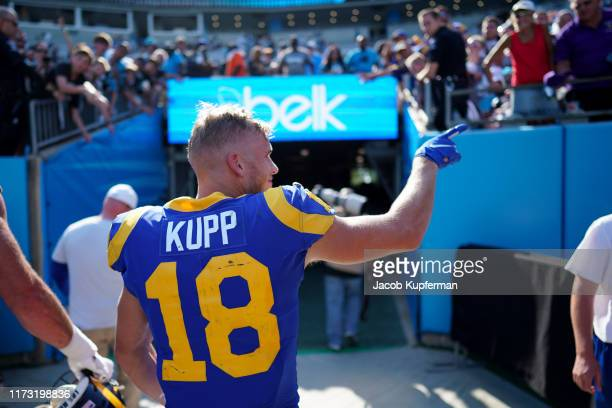 Cooper Kupp of the Los Angeles Rams walks off the field after their game against the Carolina Panthers at Bank of America Stadium on September 08...