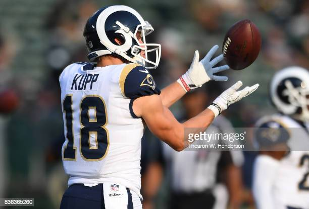 Cooper Kupp of the Los Angeles Rams warms up during pregame warm ups prior to playing the Oakland Raiders in an NFL preseason football game at...