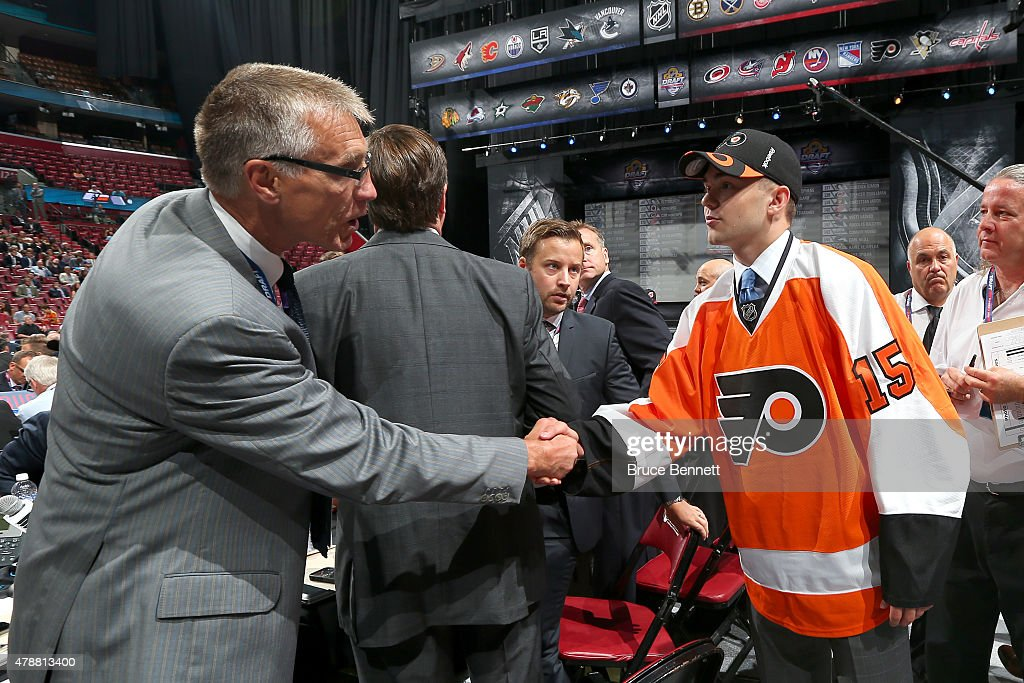 Cooper Marody, 158th overall pick by the Philadelphia Flyers reacts during the 2015 NHL Draft at BB&T Center on June 27, 2015 in Sunrise, Florida.