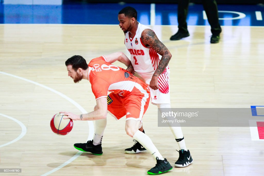 DJ Cooper of Monaco and Antoine Eito of Le Mans during the Final Leaders Cup match between Le Mans and Monaco at Disneyland Resort Paris on February 18, 2018 in Paris, France.