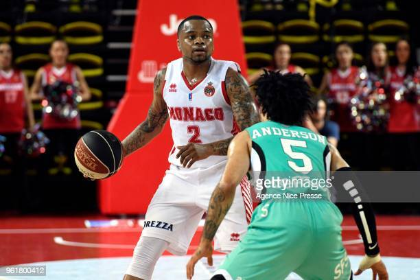 DJ Cooper of Monaco and Kyan Anderson of Pau Orthez during the Jeep Elite quarter final playoff match between Monaco and Pau Orthez Lacq on May 23...